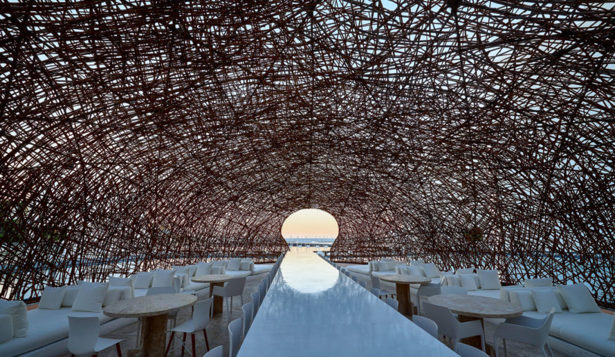 Mar Adentro Hotel, Nido restaurant, Mexico, floating architecture, Miguel Ángel Aragonés, minimalist design, minimalist furniture, walkways and ramps
