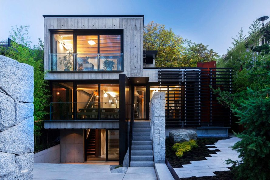 Measured Architecture, 90% recycled, Cloister House, Vancouver, playful elements, Japanese stone mason, Tamatsu Tongu, artist Fei Disbrow, weathering steel ladder, recycled bungalow