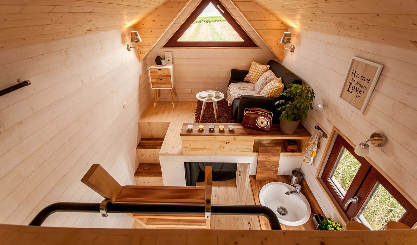 Fully furnished Odysse tiny house from France easily fits a