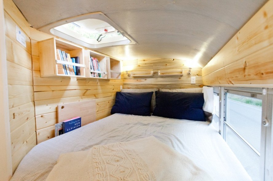 converted school bus, school bus renovation, tiny house, tiny house on wheels, outside found, alyssa pelletier, will hitchcock, road trip