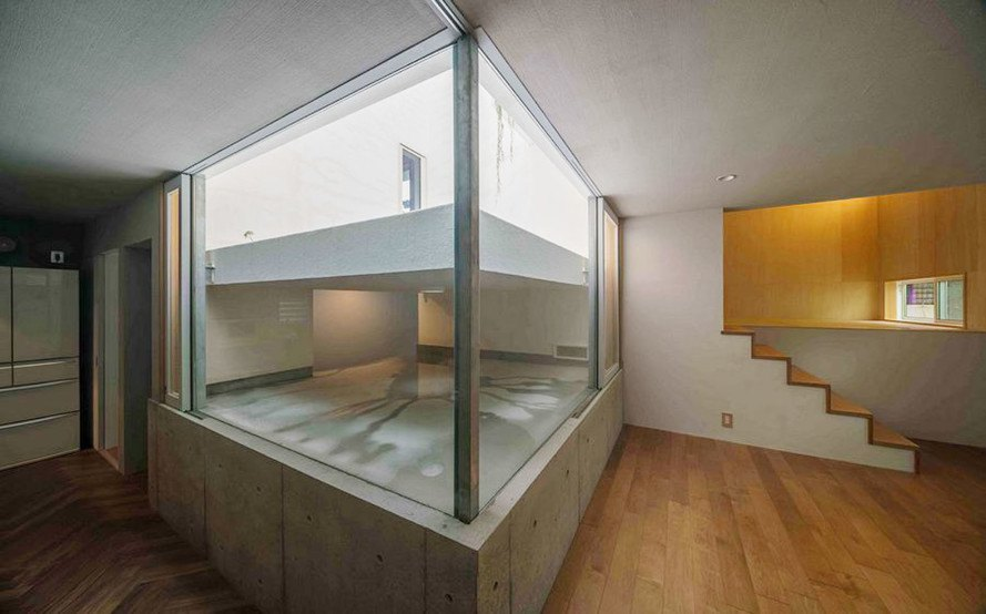 Puddle house, Japan, rainwater collection, rainwater, Masaki Yoneda, green architecture, rainfall, James Turrell, Japan, natural light