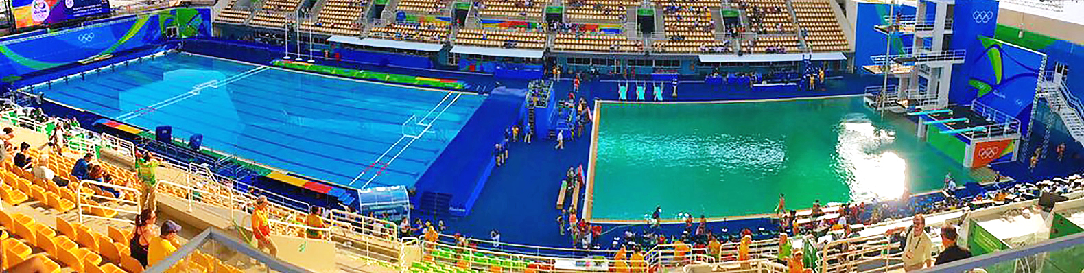 why did this olympic diving pool suddenly turn bright green rio 2016 olympic pool green tom daley inhabitat green design innovation architecture