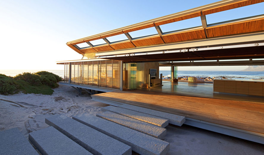 Rooiels Beach House, Elphick Proome Architects, seaside house, Cape Town, vacation house, South Africa, hydraulic shutters, hydraulic power, glass facade, timber shutters, hardwood, steel-framed building, natural light, green architecture