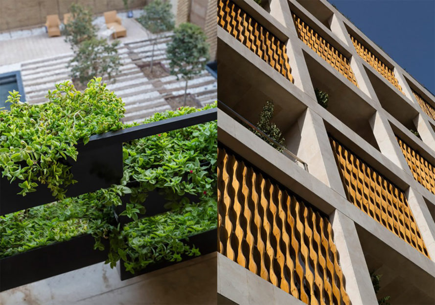 Saba Apartment by TDC Office, Saba Apartment in Tehran, Heravi Square Saba Apartment, green roofed building Tehran, drip irrigation using harvested rainwater