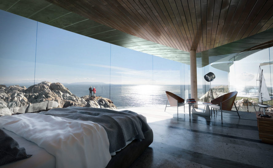 Sea Song residence, Big Sur, Form4 Architecture, net-zero energy, net-zero, xeriscaping, self-cleaning glass, pavilions, green architecture, rainwater harvesting