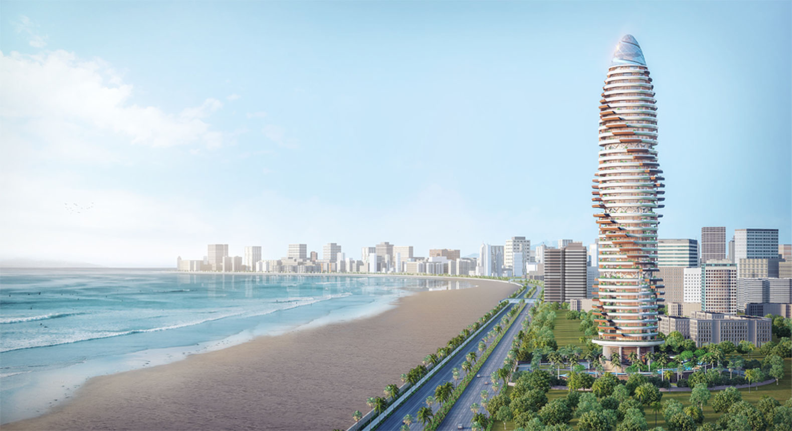 A layer of vegetation wraps around this tower in Abu Dhabi