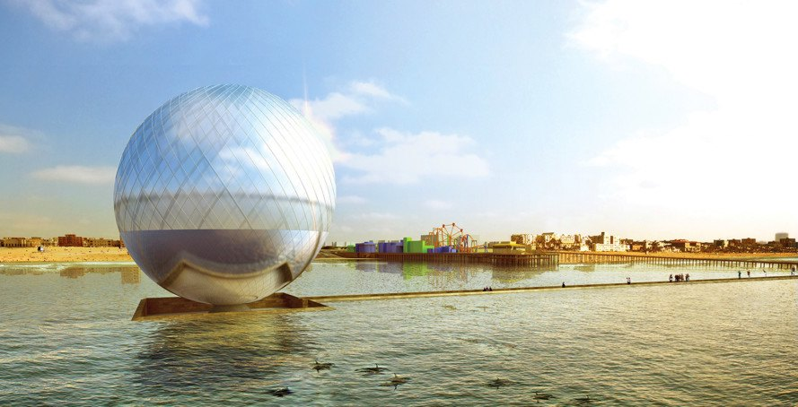 The Clear Orb, LAGI 2016: Santa Monica, Clear Orb Santa Monica, land art generator initiative competition, LAGI 2016, energy-generating orb, solar-powered orb, orb that makes clean drinking water, gleaming sphere Santa Monica
