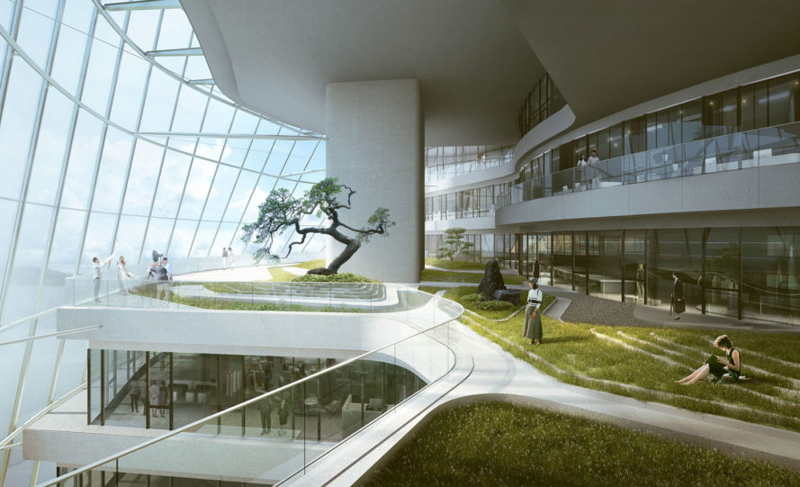 Xinhee Design Center, MAD Architects, Xinhee, office building, PTFE envelope, China, green roof, indoor garden, solar panels, green architecture, green facade