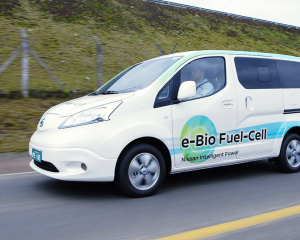 nissan green cars, nissan electric vehicles, nissan fuel cell vehicles, nissan bio fuel cell, nissan e-Bio fuel cell prototype