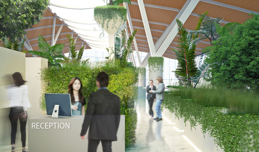 Jungle Lounge at Pudong Airport, Boeri Architects, airport, Sky Jungle, green lounge, green architecture, green interior, indoor garden, air purification, congestion