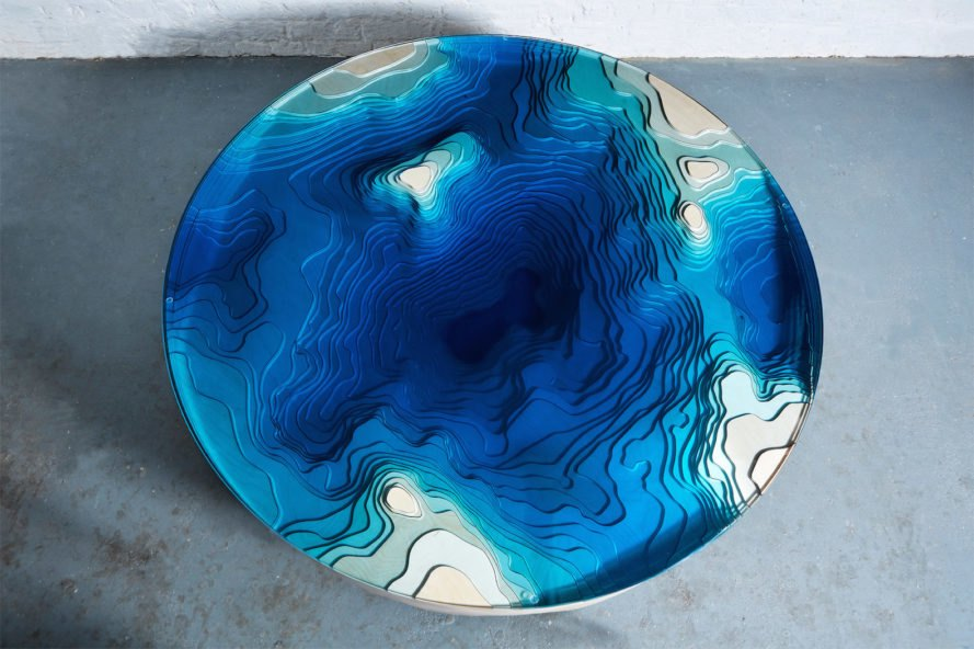Abyss Horizon by Duffy London, Abyss Horizon Table, Abyss Horizon Table by Christopher Duffy, Abyss Tables by Duffy London, tables made from layered glass, tables look like cross sections of the ocean