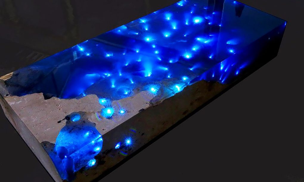 Mesmerizing Resin Table Illuminates A Starry Sea With