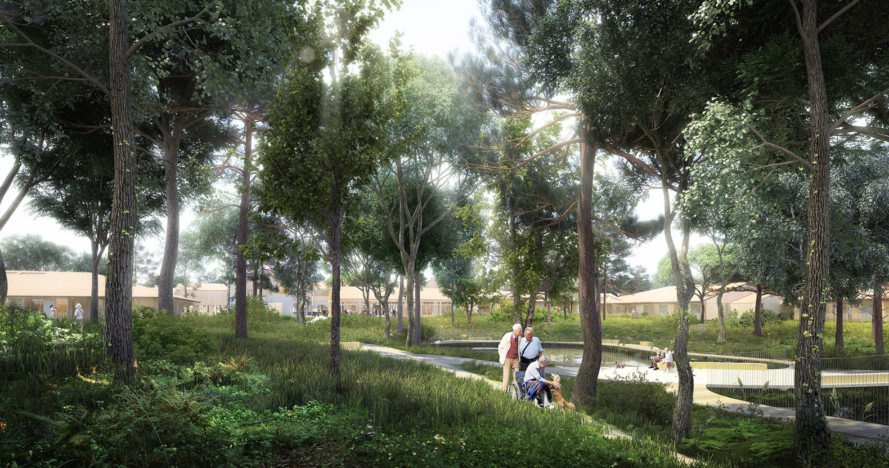 Alzheimer Village, healthcare facility, Alzheimer's disease, therapeutic architecture, NORD Architects, green architecture, France, healthcare, cultural center