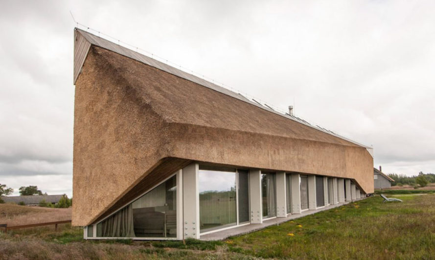 Archispektras, Dune House, thatched roof, holiday house, Latvia, reed hatch, timber cladding, pine wood, green architecture, laminated timber, wood-burning stove
