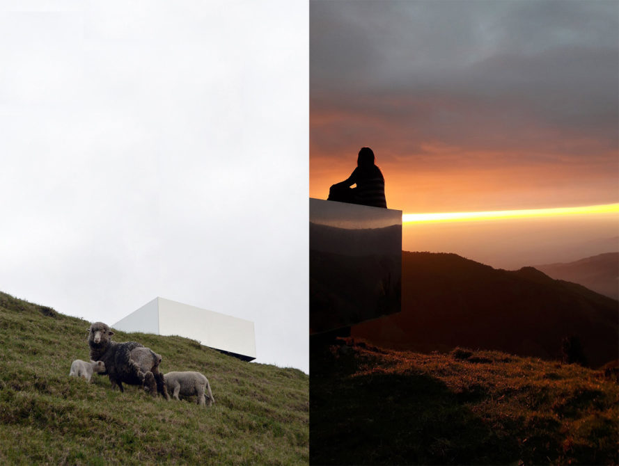 Invisible Portal by Natura Futura Arquitectura, mirrored rest stop, Invisible Portal in the Andes Mountains, view point covered with mirrors, cantilevered viewpoint
