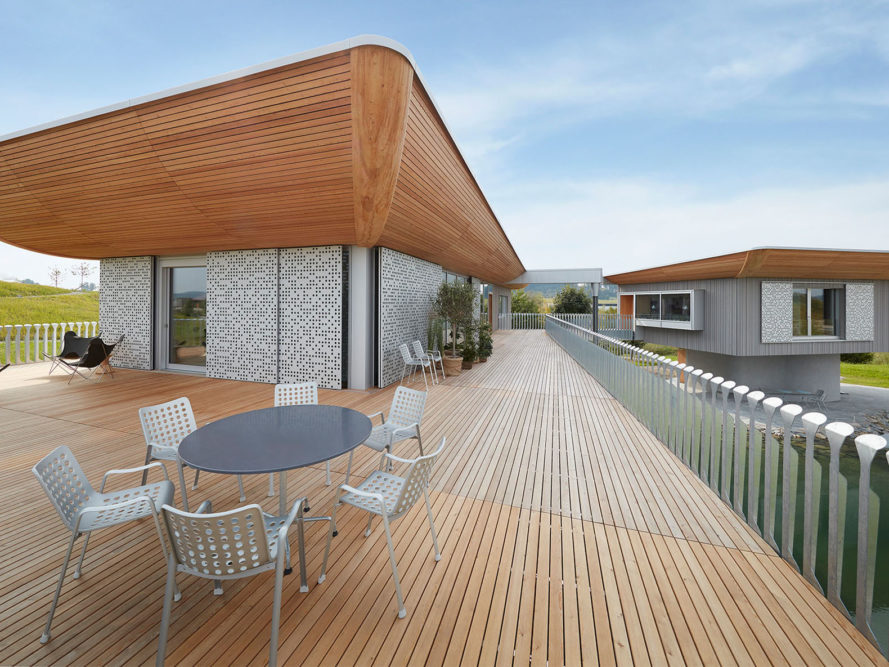 Ark- and tugboat-shaped prefab model home showcases sustainable