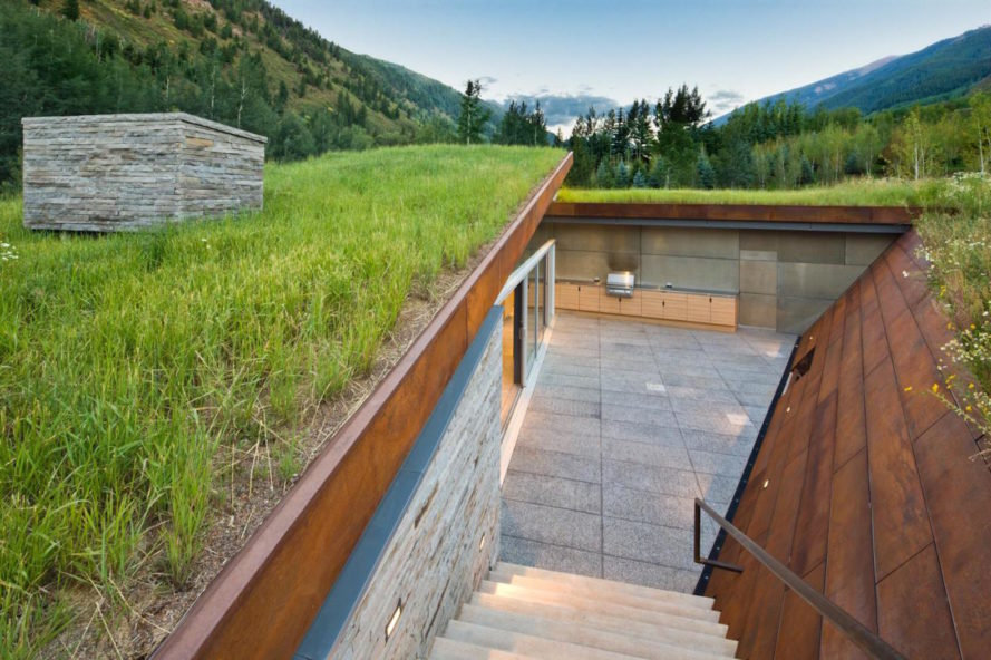 House in the Mountains by Gluck+, Colorado Rocky Mountains house, Colorado green roof house, green roofed solar powered house, corten steel green roof,