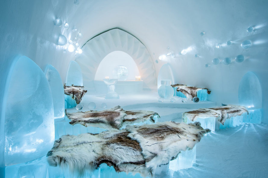 ICEHOTEL, ice hotel, sweden hotel, arctic circle, sustainable hotel, solar powered rooftop, solar powered hotel, year round ice hotel