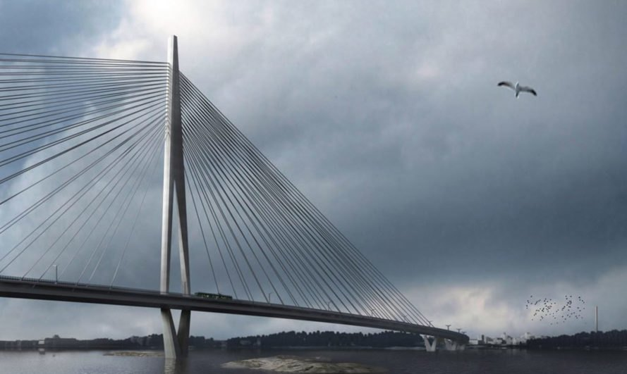 Knight Architects, WSP Finland, Kruunusillat bridge, pedestrian bridge, Finland, longest bridge in Finland, Helsinki, cable-stayed bridge, walkway, cyclists, pedestrian-friendly design