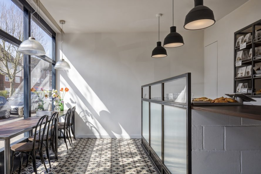 Margot Craft Bakery by Lucy Tauber, Margot Craft Bakery in London, adaptive reuse bakery, post office turned into bakery, adaptive reuse post office,
