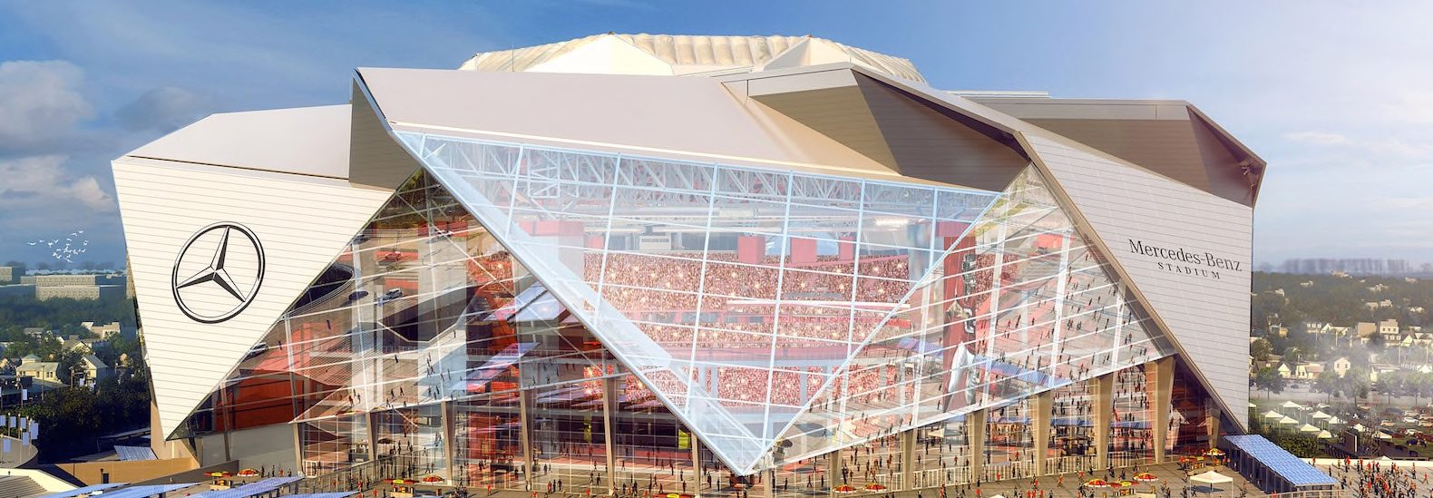 Atlanta s mercedes benz stadium to be nfl s first ever for Address of mercedes benz stadium