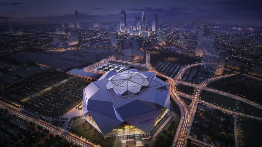 Mercedes-Benz Stadium by HOK, Mercedes-Benz Stadium LEED Platinum, solar powered Mercedes-Benz Stadium, Super Bowl LIII LEED Platinum, stadium design LEED Platinum