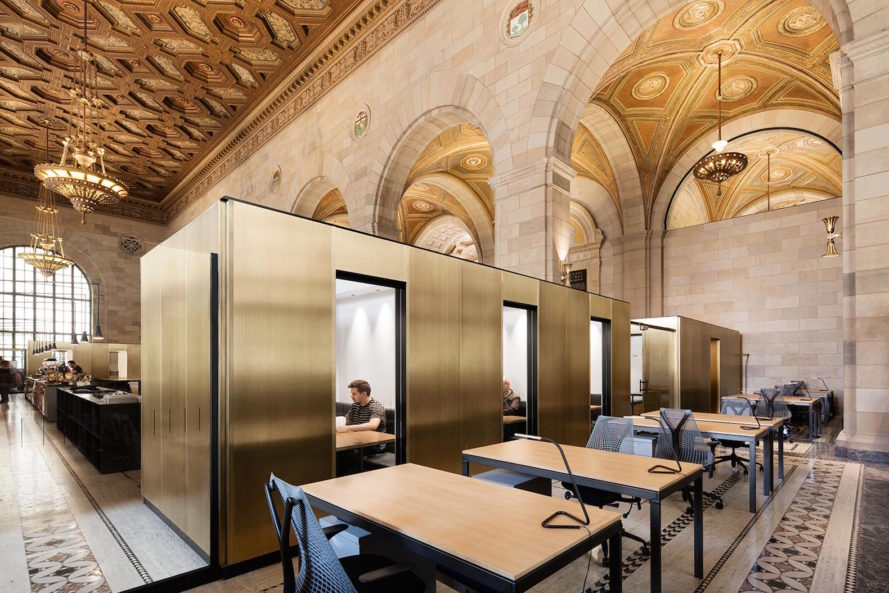 Montreal Crew coworking space by Henri Cleinge, adaptive reuse coworking space, coworking space in Montreal, coworking in renovated bank, renovated bank for new use, Royal Bank of Canada coworking space, Royal Bank of Canada and Crew Collective