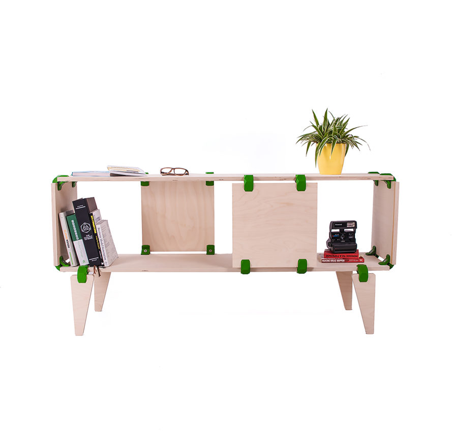 PlayWood, Stefano Guerrieri, modular furniture, furniture, DIY furniture, boards, connectors, chairs, chair, desks, desk, table, tables, shelves, shelf, bookcases, bookcase, eco-friendly furniture, sustainable furniture, recyclable materials, Sideway