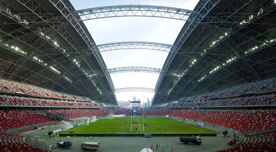 Singapore National Stadium, sports venue, Singapore, green stadium, world's largest free-span dome, LED display, LED lights, Arup, AECOM, DP Architects