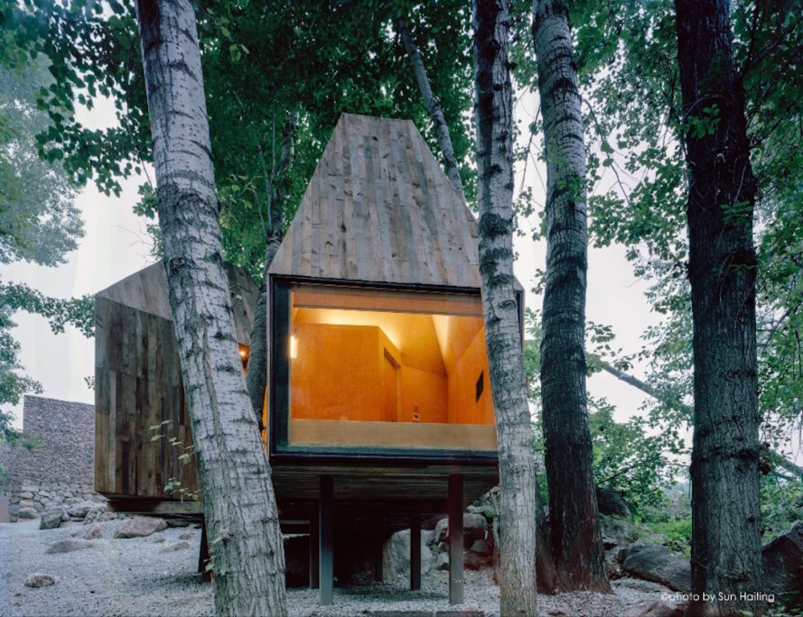 The Treehouse by Wee Studio, crowdfunded architecture projects, Mount Wuling Treehouse, Treehouse getaway in Beijing, Wee Studio crowdfunded architecture, prefabricated treehouse, recycled wood treehouse,