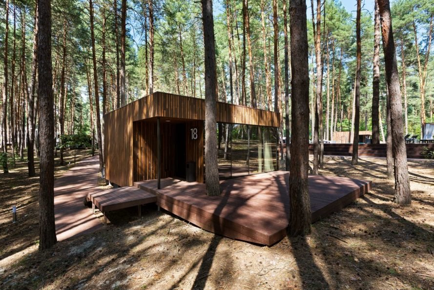 YOD Studio, wooden cabins, Guest Houses 2.0, green accommodation, Ukraine, prefab materials, two way glass, vertical wood clad, Relax Park Verholy