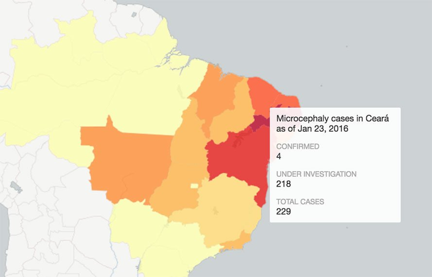 Microcephaly Cases in Brazil, microcephaly Brazil, map of microcephaly in Brazil