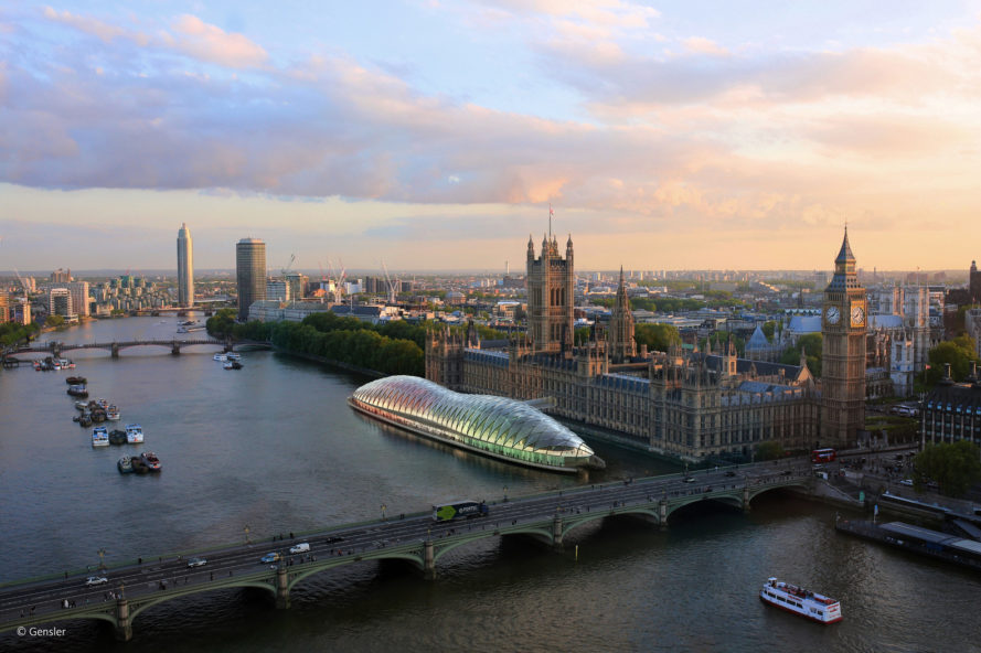 gensler, project poseidon, uk parliament, parliament refurbishment, palace of westminster, floating structure, floating architecture, river thames, london architecture