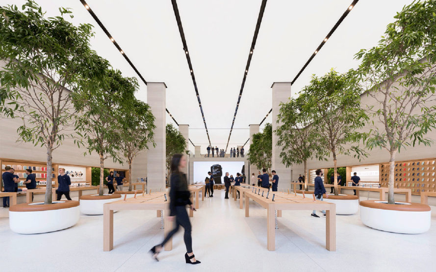Apple Regent Street store, Foster + Partners, Apple, retail spaces, London, green interior, Jonathan Ive, Apple store
