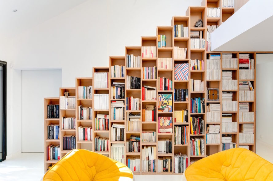 Bookshelf House, Bookshelf House in France, Andrea Mosca interior design, multifunctional bookshelf, space-saving bookshelf design, interior design with bookshelves