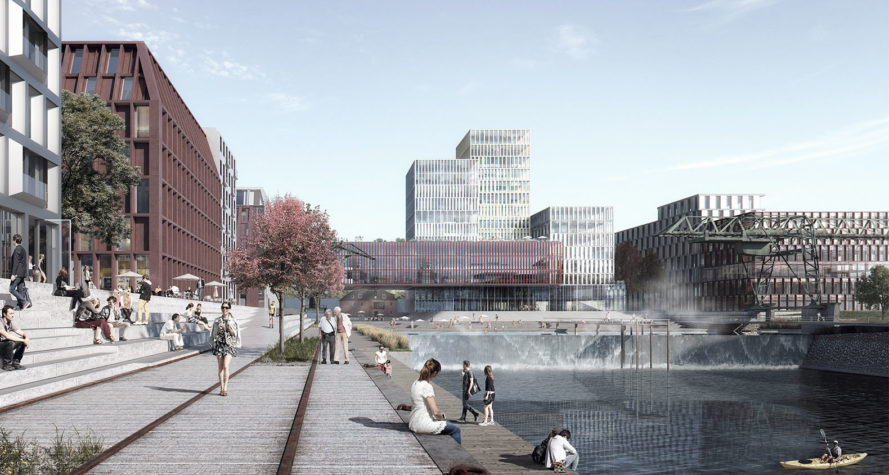 COBE Architects, Cologne, urban development, sustainable neighborhood, Transsolar, Atelier Dreiseitl, Moderne Stadt, rainwater harvesting, sustainable public pool, green architecture, green masterplan
