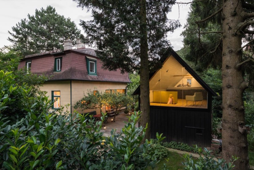 Enchanted Shed by Sue Architekten, adaptive reuse of outbuilding, 1930s farm building transformation, coal tar timber cladding,