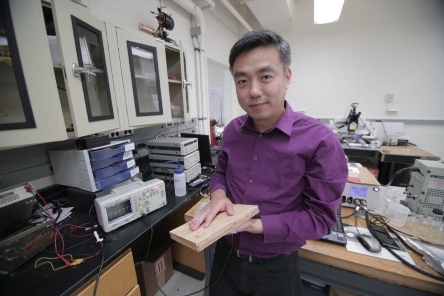 Xudong Wang, University of Wisconsin-Madison, floor, floors, flooring, green flooring, energy harvesting flooring, energy harvesting, energy, renewable energy, electricity, footstep, footsteps, wood, wood pulp
