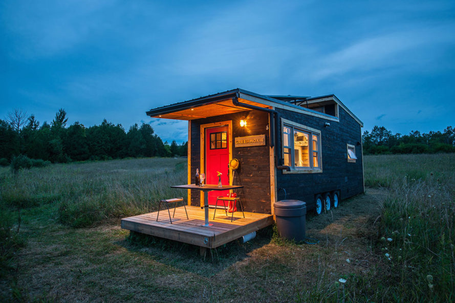 Greenmoxie Tiny House, off-grid tiny homes that you can buy, Shou Sugi Ban exterior, solar-paneled tiny house, tiny portable homes that go off-grid, Greenmoxie architecture