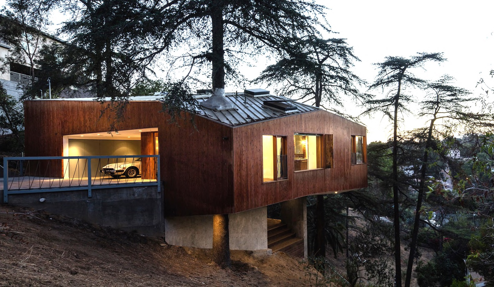 A cypress tree grows through this hillside home in Los Angeles
