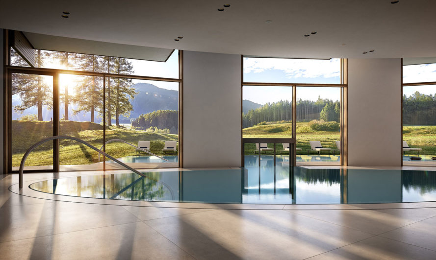 Lanserhof Lans, ingenhoven architects, green roof, health facility, Austria, green renovation, Alpine architecture, green extension, natural materials, swimming pool, sauna