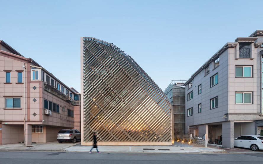 AND architects, Louverwall, parametric design, South Korea, aluminium louvers, louver system, curtain wall, green architecture, daylighting, natural light, skylights, clerestory, green facade