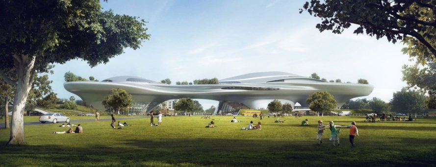 mad architects, george lucas, lucas museum of narrative art, chicago, san francisco, los angeles, art museum, public space, treasure island, Exposition Park