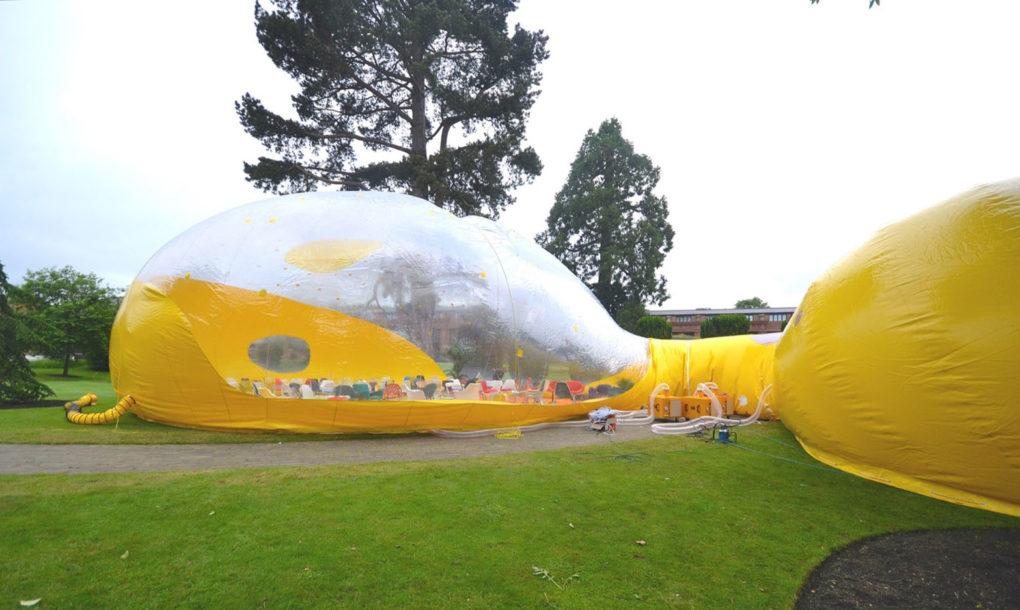 Inflatable Second Dome Transforms From Small Bubble To
