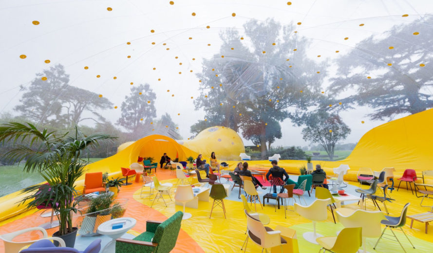 Second Dome, inflatable structure, Second Home, pneumatic structure, temporary pavilion, London, green architecture, dome pavilion, Founders Forum