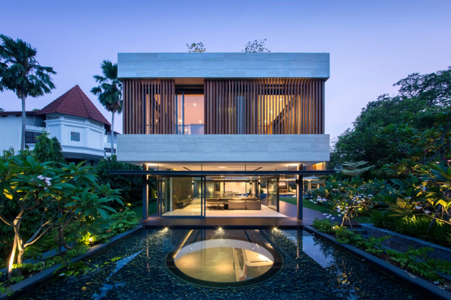 singapore, Wallflower Architecture + Design, Secret Garden House, swimming pool, skylight, skylights, reflecting pool, rooftop terrace, roof deck, green roof