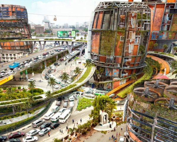 Olalekan Jeyifous, Shanty Megastructures, Lagos, concept design, weathered materials, green towers, roller coasters, Nigeria, green architecture