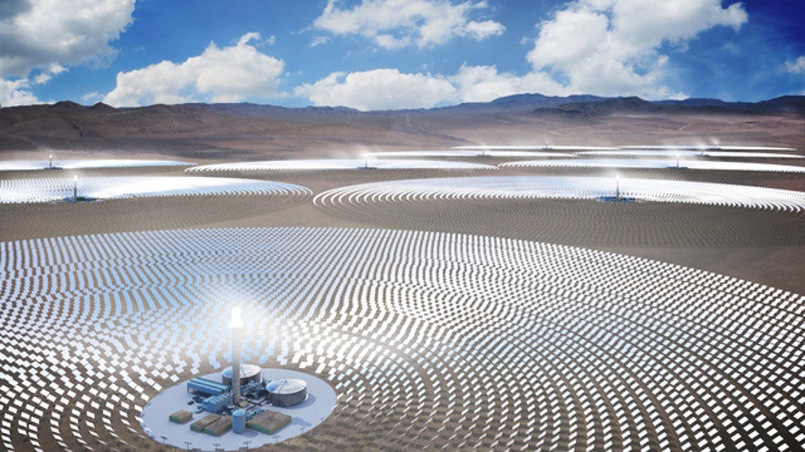SolarReserve, nevada, concentrated solar power plant, csp plant, solar power plant, world's largest solar power plant, utility scale solar power, molten salt power tower technology
