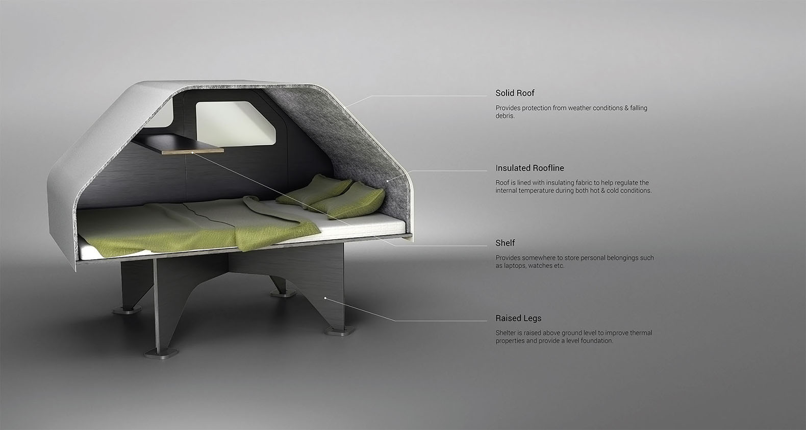 Personal Emergency Shelters : Duffy shelter is an easy to assemble flat pack trailer