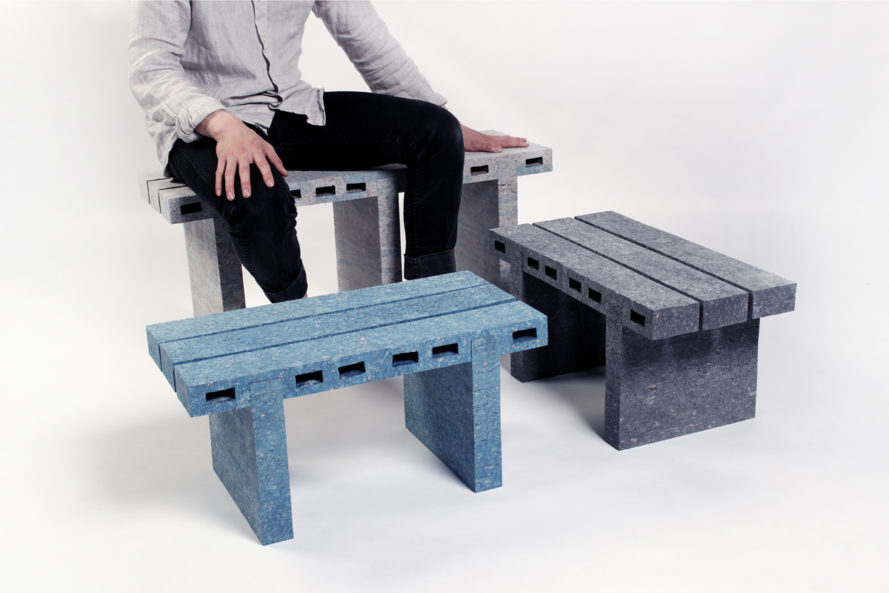 Woojai Lee, recycled newspaper furniture, newspaper pulp material, Paper Bricks, Design Academy of Eindhoven, Dutch Design Week 2016